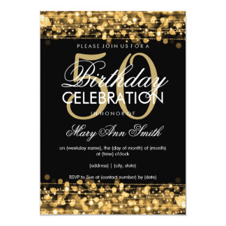 Elegant 50th Birthday Party Sparkles Gold 13 Cm X 18 Cm Invitation Card
