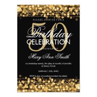 Elegant 50th Birthday Party Sparkles Gold 13 Cm X 18 Cm Invitation Card