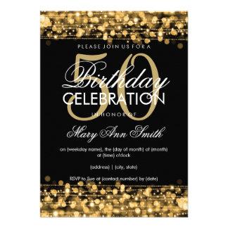 Elegant 50th Birthday Party Sparkles Gold Invite