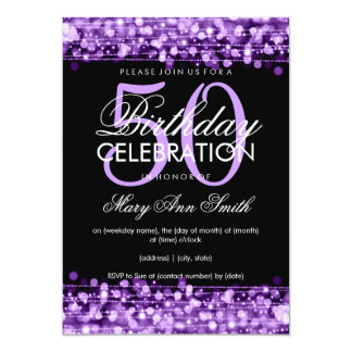Elegant 50th Birthday Party Sparkles Purple 13 Cm X 18 Cm Invitation Card