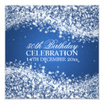 Elegant 50th Birthday Party Sparkling Wave Blue Personalised Invites