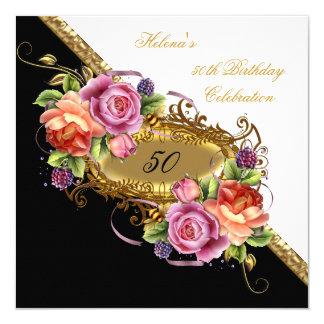 Elegant 50th Birthday Pink lilac White Gold 13 Cm X 13 Cm Square Invitation Card
