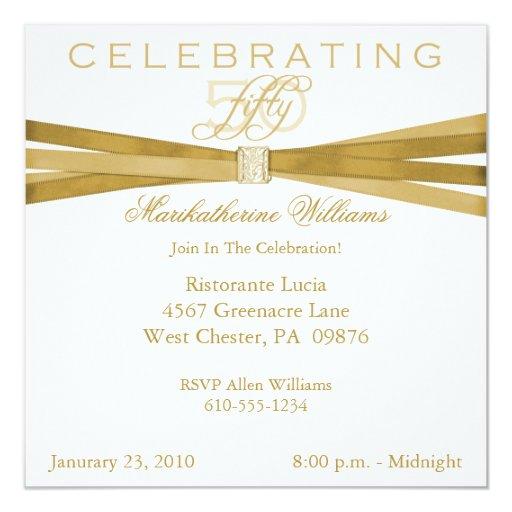 Elegant 50th- Fiftieth Birthday Party Invitations