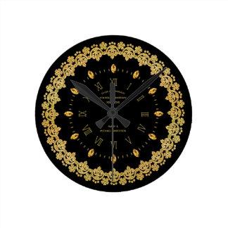 Elegant 50th Golden Anniversary Black Gold Custom Round Clock