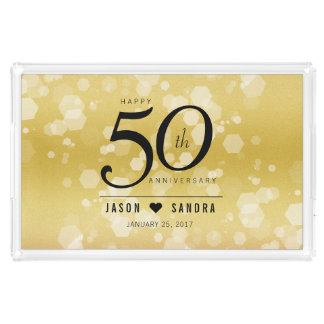 Elegant 50th Golden Wedding Anniversary Acrylic Tray