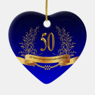 Elegant 50th Wedding Anniversary Gifts Ceramic Ornament