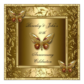 "Elegant 50th Wedding Anniversary Gold Butterfly 5.25"" Square Invitation Card"
