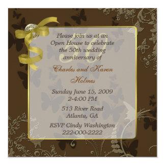 "Elegant 50th Wedding Anniversary Invitation 5.25"" Square Invitation Card"