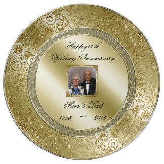 Elegant 50th Wedding Anniversary Photo Plate Porcelain Plate