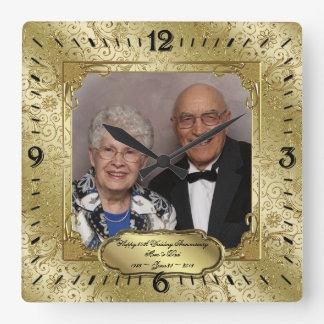 Elegant 50th Wedding Anniversary Photo Wall Clock