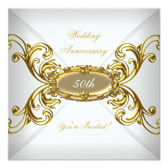 Elegant  50th Wedding Anniversary White Gold Card
