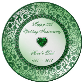 Elegant 55th Wedding Anniversary Porcelain Plate
