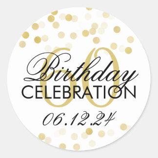 Elegant 60th Birthday Gold Foil Glitter Lights Classic Round Sticker
