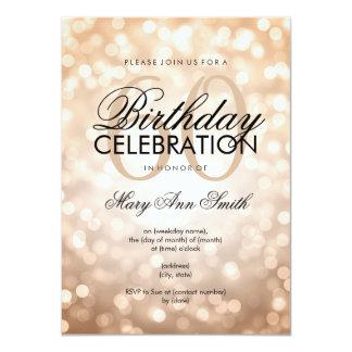 Elegant 60th Birthday Party Copper Glitter Lights 11 Cm X 16 Cm Invitation Card