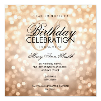 Elegant 60th Birthday Party Copper Glitter Lights 13 Cm X 13 Cm Square Invitation Card
