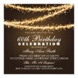 Elegant 60th Birthday Party Gold String Lights Personalised Invites