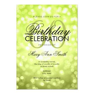 Elegant 60th Birthday Party Lime Glitter Lights 11 Cm X 16 Cm Invitation Card