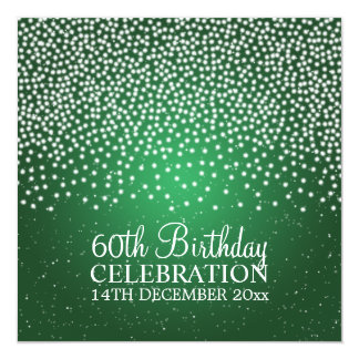 Elegant 60th Birthday Party Simple Sparkle Green 13 Cm X 13 Cm Square Invitation Card