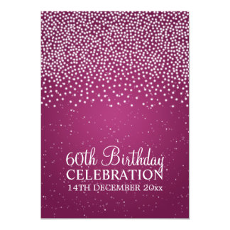 Elegant 60th Birthday Party Simple Sparkle Pink 13 Cm X 18 Cm Invitation Card