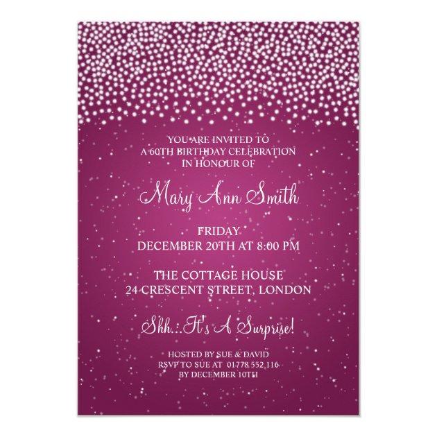 Elegant 60th Birthday Party Simple Sparkle Pink 13 Cm X 18 ...