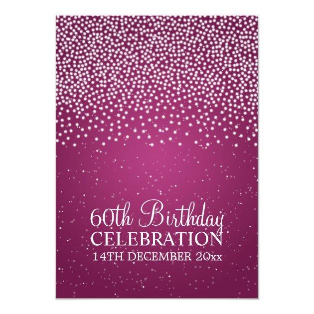 Elegant 60th Birthday Party Simple Sparkle Pink 13 Cm X 18 Cm Invitation Card | Zazzle