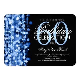 Elegant 60th Birthday Party Sparkles Blue Invitations