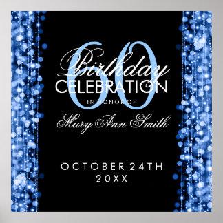Elegant 60th Birthday Party Sparkles Blue Posters