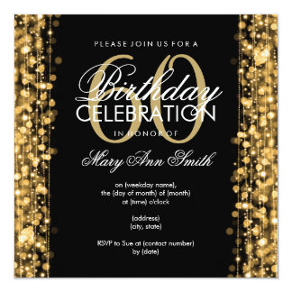 Elegant 60th Birthday Party Sparkles Gold 13 Cm X 13 Cm Square Invitation Card