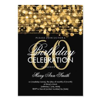 Elegant 60th Birthday Party Sparkles Gold 13 Cm X 18 Cm Invitation Card