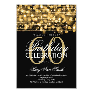 Elegant 60th Birthday Party Sparkles Gold 13 Cm X 18 Cm Invitation Card