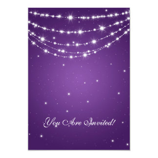 Elegant 60th Birthday Party Sparkling Chain Purple Card