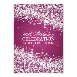 Elegant 60th Birthday Party Sparkling Wave Berry 13 Cm X 18 Cm Invitation Card