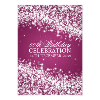 Elegant 60th Birthday Party Sparkling Wave Berry Invitations