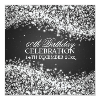 Elegant 60th Birthday Party Sparkling Wave Black 13 Cm X 13 Cm Square Invitation Card