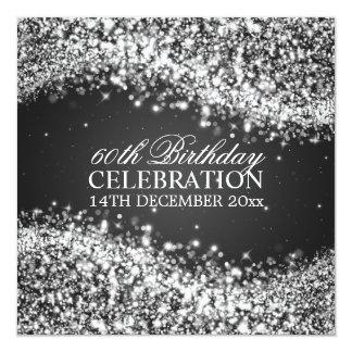 Elegant 60th Birthday Party Sparkling Wave Black 13 Cm X 13 Cm Square Invitation Card