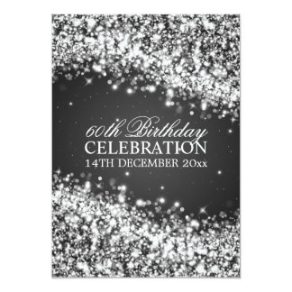 Elegant 60th Birthday Party Sparkling Wave Black 13 Cm X 18 Cm Invitation Card