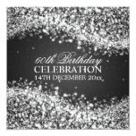 Elegant 60th Birthday Party Sparkling Wave Black Personalized Invite