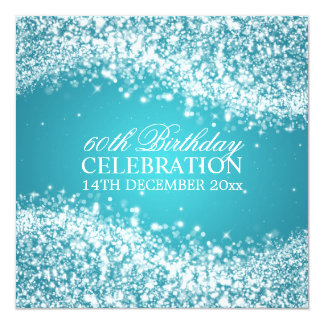 Elegant 60th Birthday Party Sparkling Wave Blue 13 Cm X 13 Cm Square Invitation Card