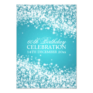 Elegant 60th Birthday Party Sparkling Wave Blue 13 Cm X 18 Cm Invitation Card