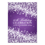 Elegant 60th Birthday Party Sparkling Wave Purple Invites