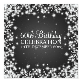 Elegant 60th Birthday Party Winter Sparkle Black 13 Cm X 13 Cm Square Invitation Card