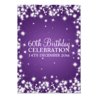 Elegant 60th Birthday Party Winter Sparkle Purple 13 Cm X 18 Cm Invitation Card