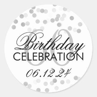 Elegant 60th Birthday Silver Foil Glitter Lights Classic Round Sticker