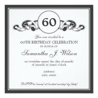 Elegant 60th Birthday Swirly Ribbon Black Card