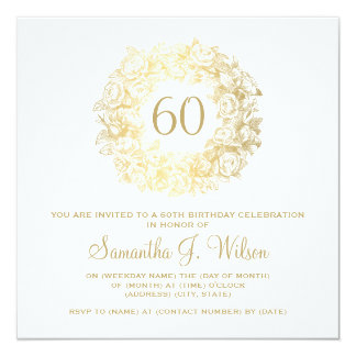 Elegant 60th birthday vintage roses gold square for Gardening 60th birthday gifts