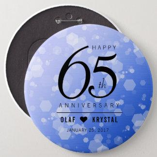 Elegant 65th Blue Sapphire Wedding Anniversary 6 Cm Round Badge