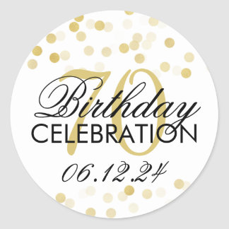 Elegant 70th Birthday Gold Foil Glitter Lights Classic Round Sticker