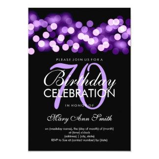 Elegant 70th Birthday Party Purple Hollywood Glam 13 Cm X 18 Cm Invitation Card