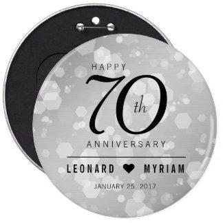Elegant 70th Platinum Wedding Anniversary 6 Cm Round Badge