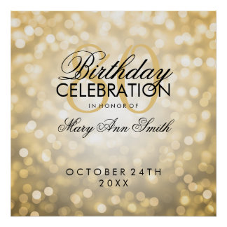 Elegant 80th Birthday Party Glitter Lights Gold Poster